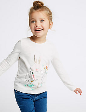 Pure Cotton Bunny Top (3 Months - 7 Years), WHITE, catlanding