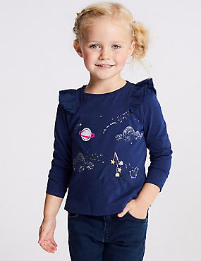Pure Cotton Moon Top (3 Months - 7 Years), BLUE, catlanding