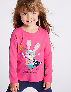 Pure Cotton Bunny Top (3 Months - 7 Years), PINK, catlanding