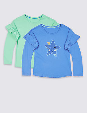 2 Pack Pure Cotton Tops (3 Months - 7 Years), MULTI, catlanding