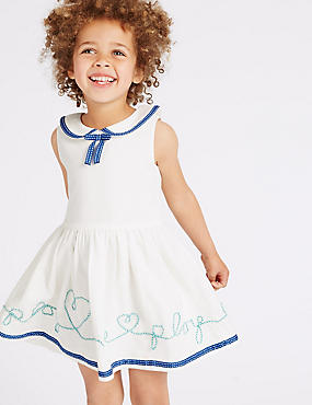 Pure Cotton Slogan Dress (3 Months - 5 Years)
