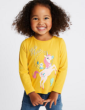 Pure Cotton Top with StayNEW™ (3 Months - 7 Years), YELLOW, catlanding