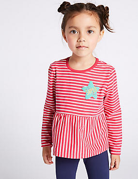 Striped Top with StayNEW™ (3 Months - 7 Years), PINK MIX, catlanding
