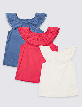 3 Pack Pure Cotton Tops (3 Months - 7 Years), MULTI, catlanding