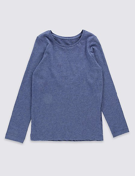Pure Cotton Long Sleeve T-Shirt with StayNEW™ (3 Months - 5 Years)