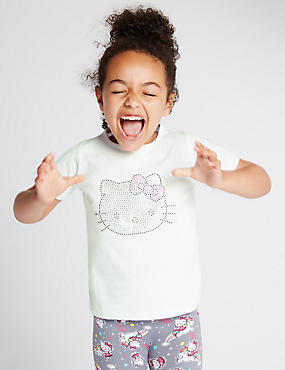 Hello Kitty Pure Cotton Sequin Embellished T-Shirt (1-7 Years)