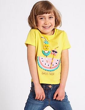 Pure Cotton Watermelon Top with StayNEW™ (3 Months - 7 Years), YELLOW MIX, catlanding