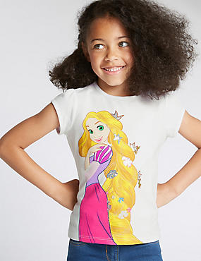 Pure Cotton Rapunzel Print T-Shirt (1-7 Years)