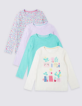 4 Pack Pure Cotton Tops (3 Months - 7 Years)