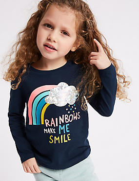 Pure Cotton Rainbow Top (3 Months - 7 Years), NAVY MIX, catlanding