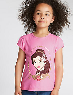 Pure Cotton Sequin Embellished Disney Princess T-Shirt (1-7 Years)
