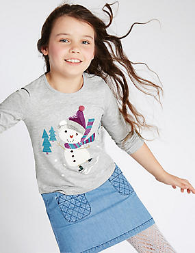 Cotton Rich Long Sleeve Snowman Top (1-7 Years)