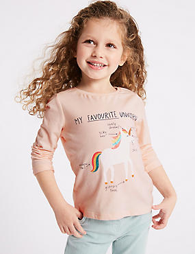 Pure Cotton Unicorn Top (3 Months - 7 Years), OATMEAL MIX, catlanding