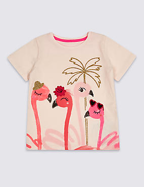 Pure Cotton Flamingos Top (3 Months - 7 Years), PINK MIX, catlanding