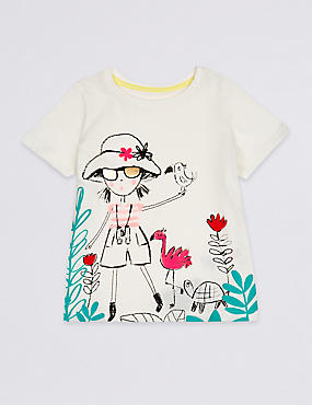 Pure Cotton Safari Girl Top (3 Months - 7 Years), WHITE MIX, catlanding