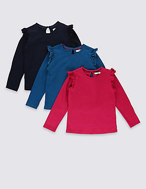 3 Pack Pure Cotton Long Sleeve Frill Tops (1-7 Years)