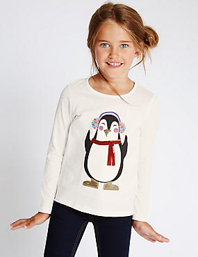 Pure Cotton Penguin Print Top (1-7 Years)