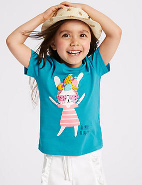 Pure Cotton Bunny Top (3 Months - 7 Years), TURQUOISE, catlanding