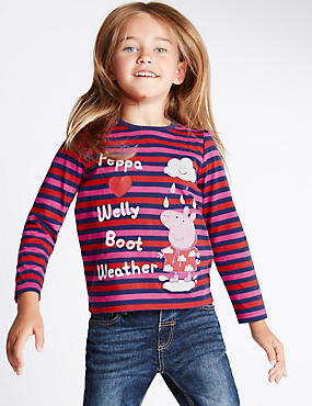 Pure Cotton Peppa Pig™ Striped Jersey Top (1-7 Years)