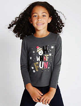 Cotton Blend Long Sleeve Top (1-7 Years)