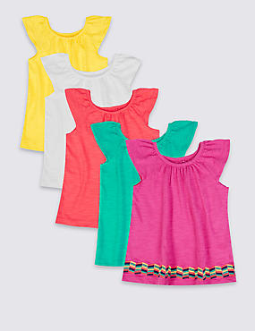 5 Pack Pure Cotton Frill Tops (3 Months - 5 Years)