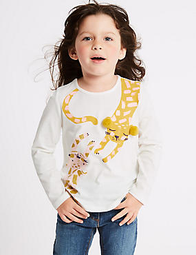 Pure Cotton Leopard Print Top with StayNEW™ (3 Months - 7 Years), MULTI, catlanding