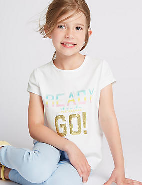 Pure Cotton Ready Steady Go Slogan T-Shirt (1-7 Years)