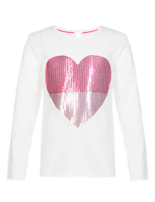 Pure Cotton Glitter Heart T-Shirt (1-7 Years) Clothing