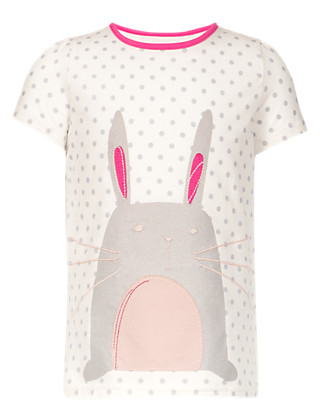 Pure Cotton Spotted Bunny Girls Top (1-7 Years) Clothing