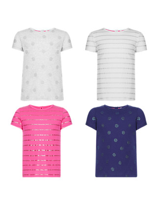 4 Pack Pure Cotton Short Sleeve Glitter Girls T-Shirts (1-7 Years) Clothing
