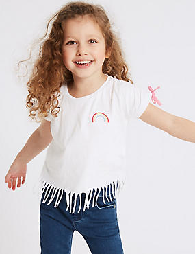 Pure Cotton Hem Fringes Top (3 Months - 7 Years), IVORY MIX, catlanding