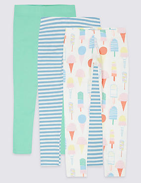 3 Pack Cotton Leggings with Stretch (3 Months - 5 Years)