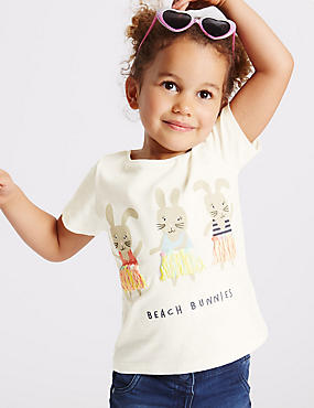 Pure Cotton Bunnies Print Top (3 Months - 5 Years)