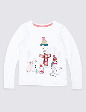 Cotton Rich Snowman Top (3 Months - 6 Years)