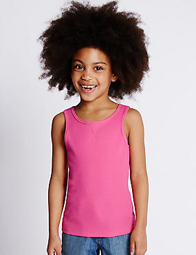 Cotton Rich Ribbed Vest Top with StayNEW™ (1-7 Years)