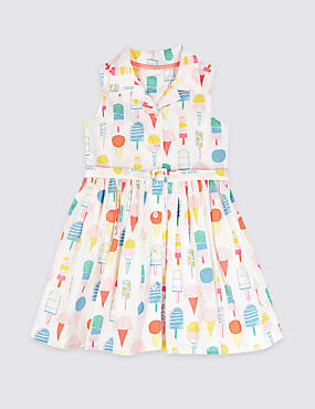Pure Cotton All Over Print Dress (3 Months - 5 Years)