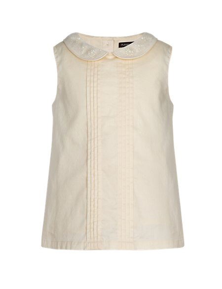 Pure Cotton Embellished Girls Vest Top (1-7 Years)