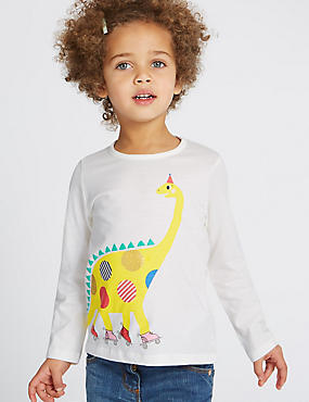 Pure Cotton Dinosaur Print Top (3 Months - 5 Years)