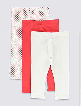 3 Pack Pure Cotton Rich Assorted Leggings (1-7 Years)