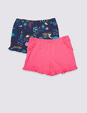 2 Pack Frill Shorts (3 Months - 7 Years), BRIGHT PINK MIX, catlanding
