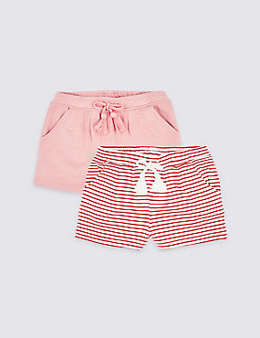 2 Pack Cotton Rich Shorts (3 Months - 7 Years), RED MIX, catlanding