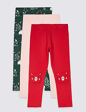 3 Pack Cotton Leggings with Stretch (3 Months - 7 Years), RED MIX, catlanding