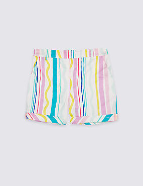 Cotton Striped Shorts with Stretch (3 Months - 7 Years)