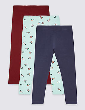 3 Pack Cotton Leggings with Stretch (3 Months - 7 Years), BLUE MIX, catlanding