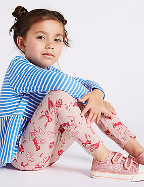 Cotton Rich Leggings with Stretch (3 Months - 7 Years), PINK MIX, catlanding