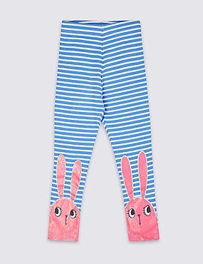 Cotton Rich Leggings with Stretch (3 Months - 7 Years), BLUE MIX, catlanding
