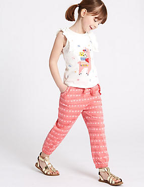 All Over Leaf Print Joggers (3 Months - 7 Years), PINK MIX, catlanding