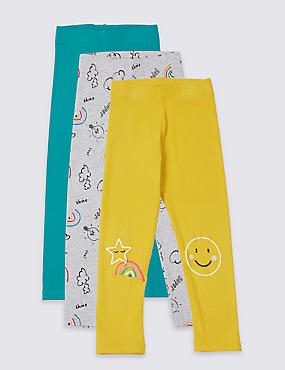 3 Pack Cotton Rich Leggings with Stretch (3 Months - 7 Years), MULTI, catlanding