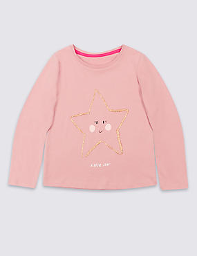 Pure Cotton Glitter Star Top (3 Months - 5 Years)