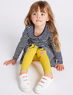 Cotton Rich Leggings with Stretch (3 Months - 7 Years), YELLOW, catlanding